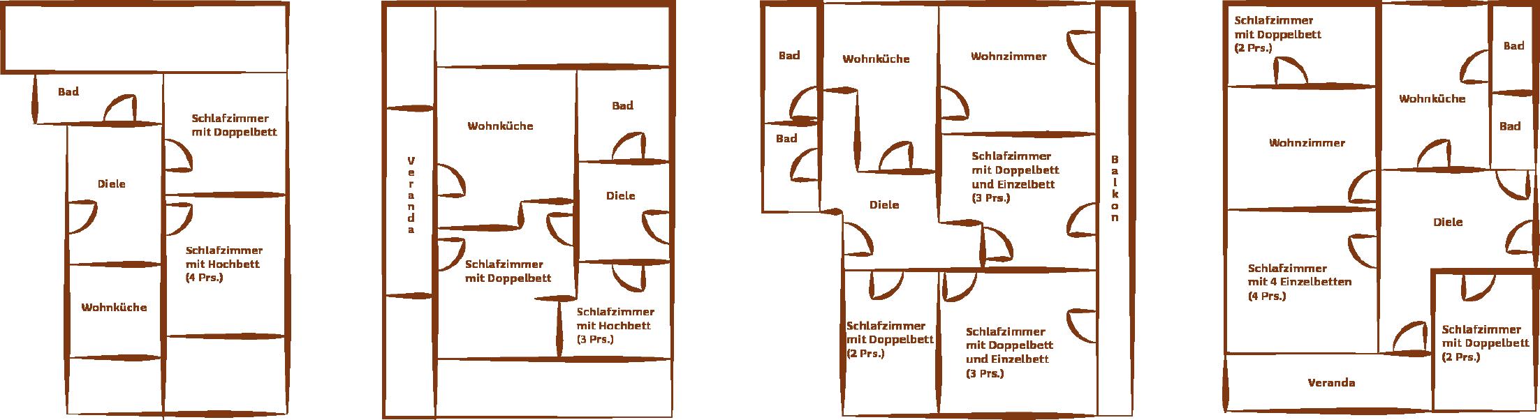Grundrisse Appartements Ennemoser im Schneereich Mellau Damüls